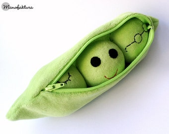 Handmade green peas in a pod plushie toy, ready to ship