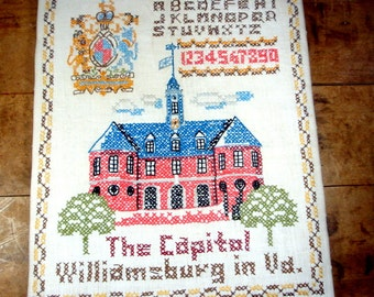 Vintage Sampler, Cross Stitch, Americana, Patriotic, Alphabet, Williamsburg, Capital, Letters, Numbers, Wall Decor, Wall Art   (649-13)