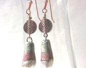 Rustic Copper Earrings, Brown earrings, Earthy Earrings, Long earrings, Fun Earrings