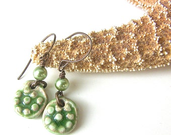 Green Earrings, Green Jewelry, Handmade Ceramic Earrings,  Ceramic Art Jewelry, Dots and Swirls, Fun Earrings, Birthday Gift, Boho Jewelry
