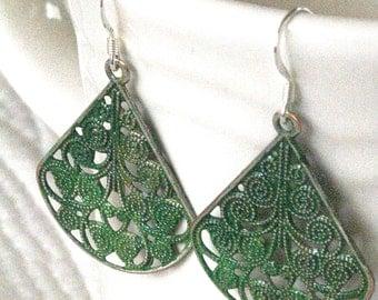 Green Earrings, Verdigris Style Earrings, BoHo Jewelry, Green Patina Earrings, Filigree Earrings, BoHo Earrings, Art Deco Earrings, Gypsy
