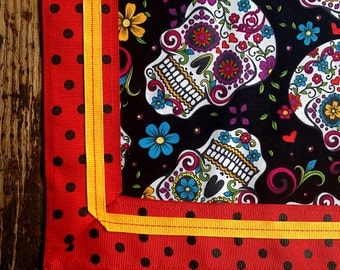 Day of the Dead Tablecloth Mexican Sugar Skulls with Red and Black Polka Dot Ribbon Gold Ribbon