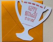 Trophy Shaped Letterpress Birthday Card