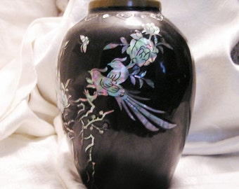 Vintage Asian Black Enamel Vase with Abalone Shell Inlay in Bird Flower Design