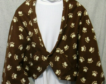 Cream Paw Prints on Brown Shawl, Bed Jacket, or Reading Shawl - Cold Office / Warm Shawl