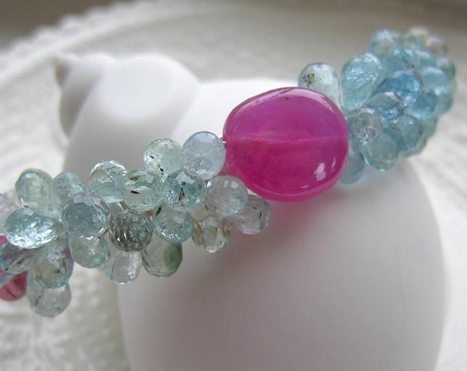 "Featured listing image: Aquamarine Cuff bracelet-Gemstone Cuff-""Robin's Egg"""