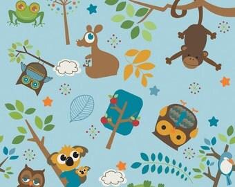 Hooty Hoot Main Blue Woodland  Animal fabric  from Riley Blake Fabrics 1/2 yard on sale