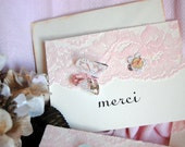 Vintage Pink Lace MERCI Handmade Note Card Set of 6