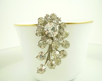 50's Vintage Floral Rhinestone Brooch - 50's Vintage Flower Rhinestone Pin - Vintage Bridal Bouquet Brooch - Gifts for Moms - Gifts for Her
