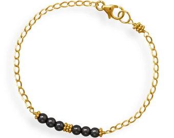 Hematite Bead Bracelet, Gold Curb Chain Bracelet with Hematite Bead Bar Design, Handmade in Texas, Birthday Gift Bracelet, Anniversary Gift
