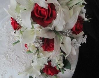 Red  Rose White Realtouch Casablanca and Calla Lily Bridal Destination Wedding Bouquet Set