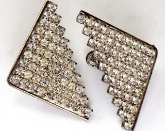 Vintage Pave Rhinestone Triangle Clip on Screw Back Earrings Mid Century Pronged Rhinestones C1
