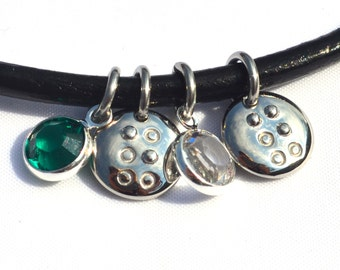 Braille initial charm necklace with birthstones Jewelry in Braille