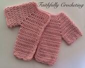 Preemie Sweater.. Small newborn short sleeve sweater.. Ready to ship... CLEARANCE PRICE