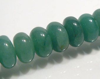 8 Beads.....Green  Aventurine Smooth Puffed Rondelle Gemstone Beads....10mm....BB