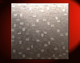 Large Grey White Painting Abstract Textured Wall Art Urban Original Impasto Painting on Stretched Canvas Stylish Design 30x30 Custom