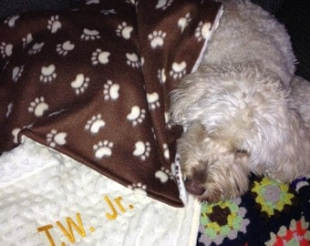 Personalized Dog Pet Animal Fleece Blanket Bedding with Minky Backing