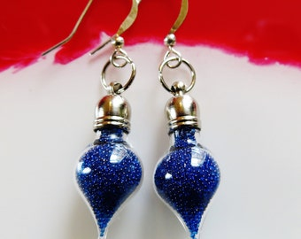 Microbead Miniature Glass Vial Blue Earrings, Dangle Earrings, Bottle Earrings, Glass Earrings, Unique Earrings, Handmade Jewelry, Jewellery