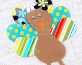 Quirky Turkey Applique - for Turkey Shirt or Turkey Onesie - DIY iron on patch - Yellow, Turquoise, and Grey Fabrics #13