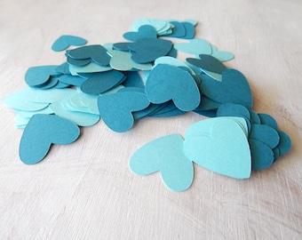 Heart Confetti Teal and Aqua 1 Inch