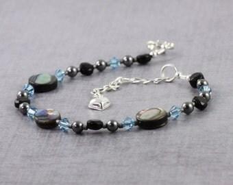 Seashell Bracelet Blue Paua Shell Jewelry Aquamarine Bracelet Gray Pearl Jewelry Black Onyx Jewelry Abalone Jewelry Aqua For Her For Mom