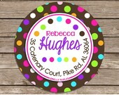 DOT HAPPY--address or name or party stickers--choose size--choose gloss or matte
