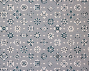 1960's Vintage Wallpaper Blue and White Geometric on Blue