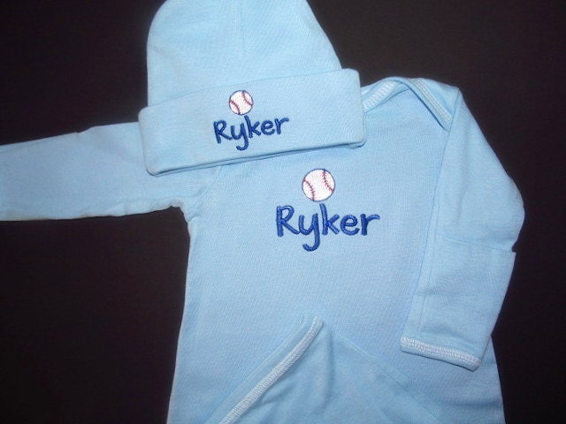 Personalized Blue Baby Boy Gown Sleeper Mitten Cuffs And Hat