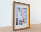 picture frames in Walnut + Pop of Color style (sunset glow) . 11x14 handmade picture frame