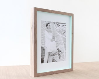 picture frames in Walnut + Pop of Color style (sea lily blue) . 11x14 handmade picture frame
