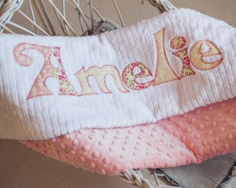 Monogrammed Baby Blanket in SHABBY CHIC ROSE, Vintage Pink Minky and White Chenille, Personalized with Your Baby Girl's First Name in Floral