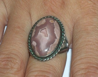 Vintage Studio Artisan Sterling Silver Fancy Lace Agate Ring