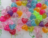 New item Colorful Transparent Glitter Heart beads 40pcs 11mm x 10mm Mix