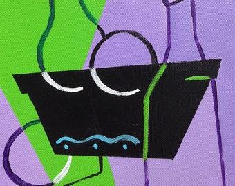 Cubist Still Life 1- original acrylic on canvas painting, 8x8