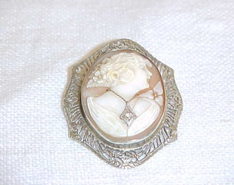 PRICE REDUCED! Antique Victorian Hand Carved Shell Cameo with Tiny Faceted Diamond set in 10K White Gold