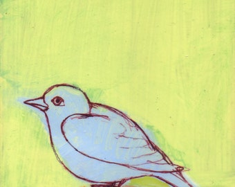Lavender Blue Bird on Light Green - original painting, original art, small painting, one of a kind - wantknot shop