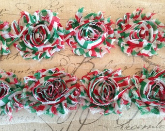 New-Shabby Rose Trim in RED/GREEN/WHITE Chevron -2 1/2 inches-1/2 yard