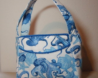Blue Octopus -  Medium Cotton Handbag