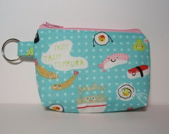 Turquoise Cute Sushi Zipper Pouch Small Coin Purse or Dice Bag