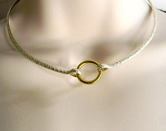 Made To Order Textured Sterling Silver Public Day Collar with Gold Anodized Titanium Captive Segment Clasp/lock