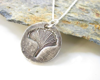 Ginko Leaf Necklace - Hand Made from Fine Silver- Sterling Chain - Made to Order