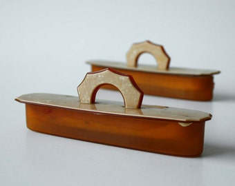 Pair of Decorative Vintage Celluloid Nail Buffers in Peach