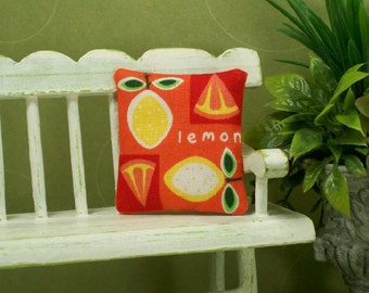 Lemon Pillow Cushion Fruit Yellow Orange 1:12 Dollhouse Miniature Artisan