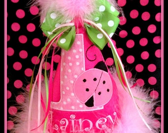 NEW DESIGN,  Ladybug First  Birthday Hat, (Any Number) You Choose Colors, by Gingham Bunny Embroidery