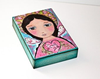 Love me - Angel- Valentine Giclee print mounted on Wood (5 x 7 inches) Folk Art  by FLOR LARIOS