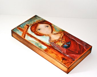 Saint Helena -  Giclee print mounted on Wood (3 x 6 inches) Folk Art  by FLOR LARIOS