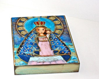 Our Lady of El Cobre - Giclee print mounted on Wood (5 x 7 inches) Folk Art  by FLOR LARIOS
