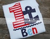 Anchors Aweigh Nautical Birthday Shirt - Stripes & Navy