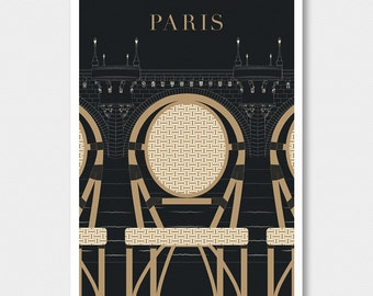 SALE Paris decor, Pont Neuf Travel poster large wall art, Black Modern Art Deco French Decor, Travel Poster Print, Kitchen Art Gift for Mom