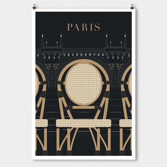 Paris decor, Pont Neuf Travel poster large wall art, Black Modern Art Deco French Decor, Travel Poster Print, Kitchen Art Gift for Mom